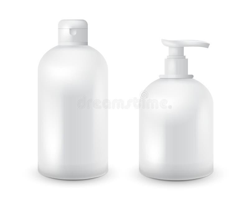 Realistischer kosmetischer Flaschenspott stellte Satz auf weißem Hintergrund auf Kosmetische Markenschablone Shampoo- und Seifens lizenzfreie abbildung