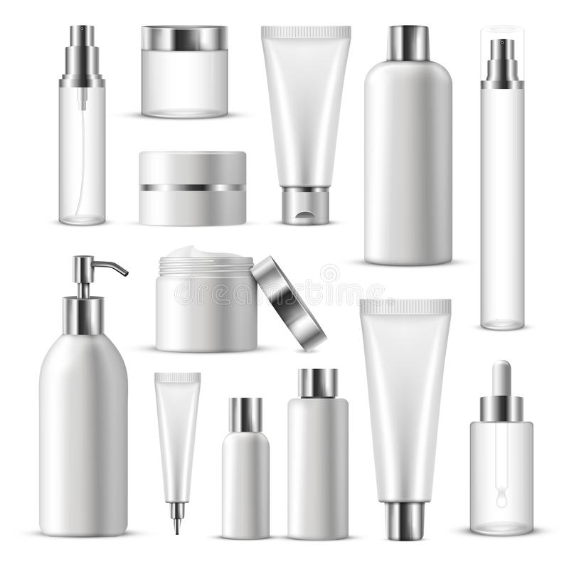 Realistischer kosmetischer Paket-Ikonen-Satz stock abbildung