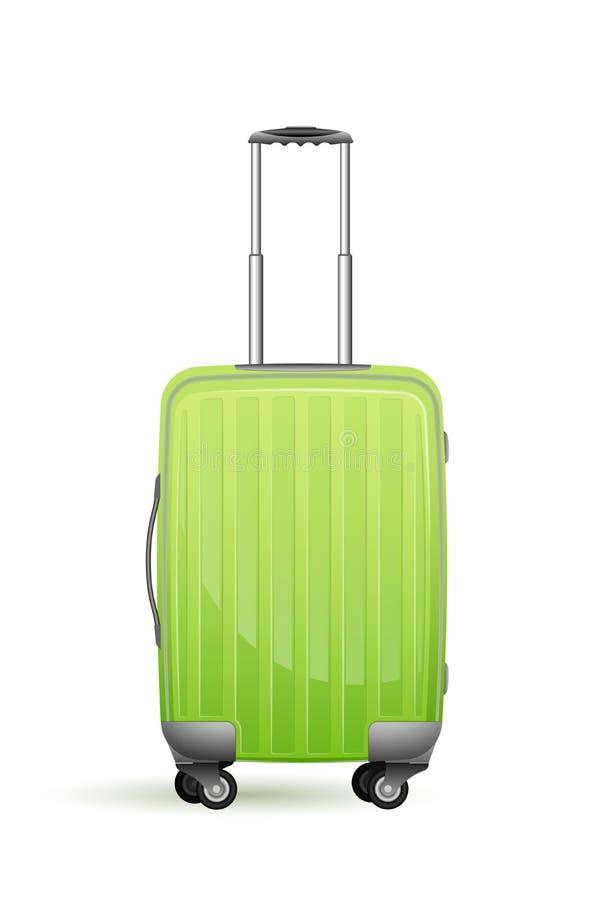 Realistischer Kunststoffkoffer auf Rädern Der Körper ist grün Für Ferien, Geschäftsreise oder Reise stockfoto
