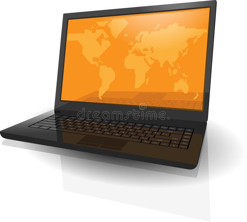 Realistischer Laptop mit Karte der Welt auf Bildschirm vektor abbildung