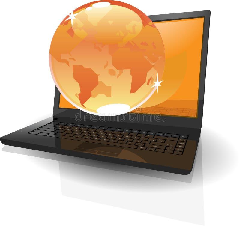 Realistischer Laptop und orange Kugel lizenzfreie abbildung