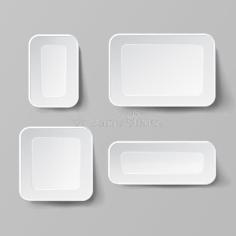 Realistischer Lebensmittel-Behälter-gesetzter Vektor Leerer Plastiklebensmittel-Quadrat-Behälter Gut für Verpackungsgestaltung Le lizenzfreie abbildung