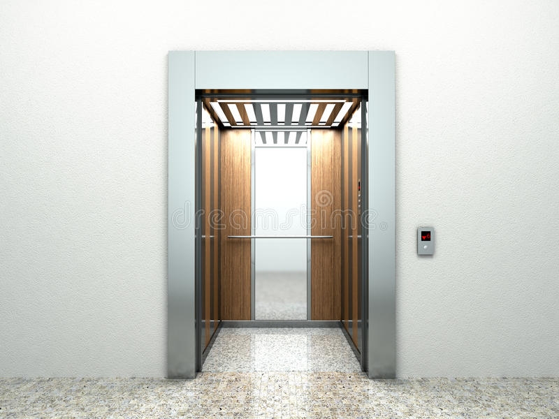 Realistischer leerer Aufzugshalleninnenraum mit Warteaufzugmarmor vektor abbildung