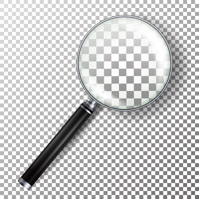 Realistischer Lupen-Vektor Lokalisiert auf karierter Hintergrund-Illustration Lupen-Gegenstand für Zoom und Werkzeug mit L vektor abbildung