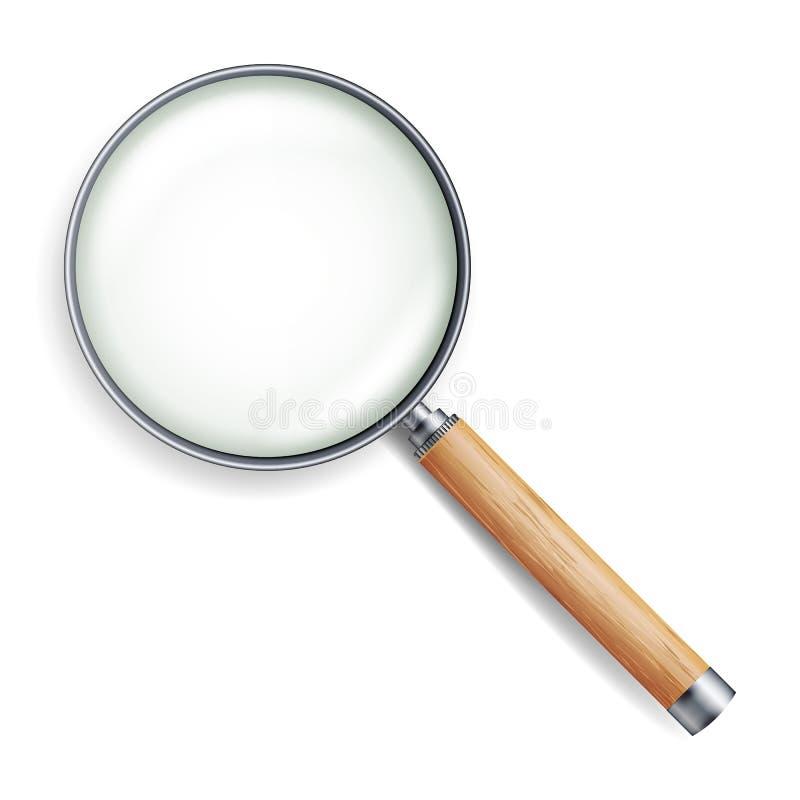 Realistischer Lupen-Vektor Lokalisiert auf weißem Hintergrund, mit Steigungs-Masche Lupen-Gegenstand für Zoom Hölzerner Griff stock abbildung