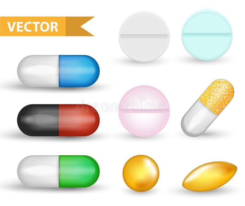 Realistischer medizinischer Pillenkapselsatz Sammlung der Drogen 3d und der Tabletten Medizin-Antibiotika, vinamines, Fischöle lizenzfreie abbildung