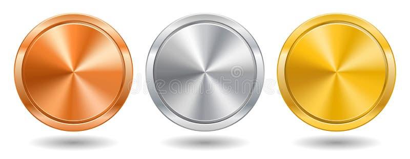 Realistischer Metallknopf mit der Kreisverarbeitung Auch im corel abgehobenen Betrag lizenzfreie abbildung