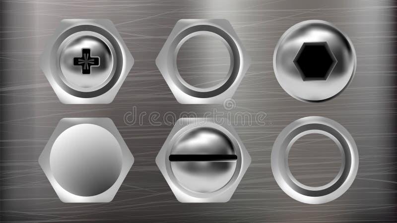 Realistischer Metallkopf des Schrauben-und Bolzen-Satz-Vektors lizenzfreie abbildung