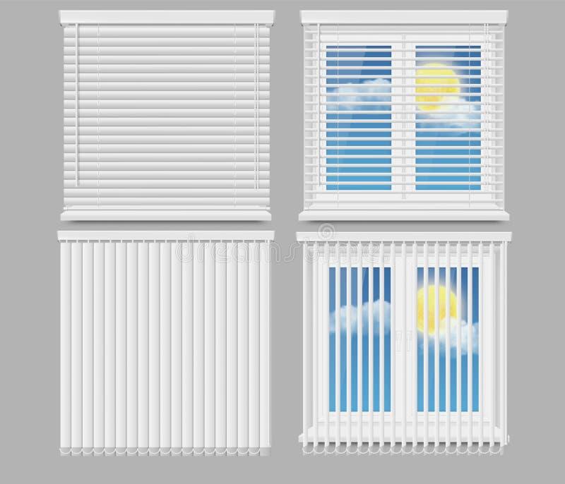 Realistischer Modellsatz des blinden Fenstervorhang-Vektors stock abbildung
