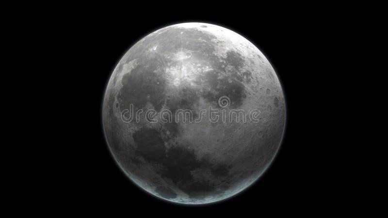 Realistischer Mond im Weltraum Hohe ausf?hrliche Beschaffenheit 3d ?bertragen stock abbildung