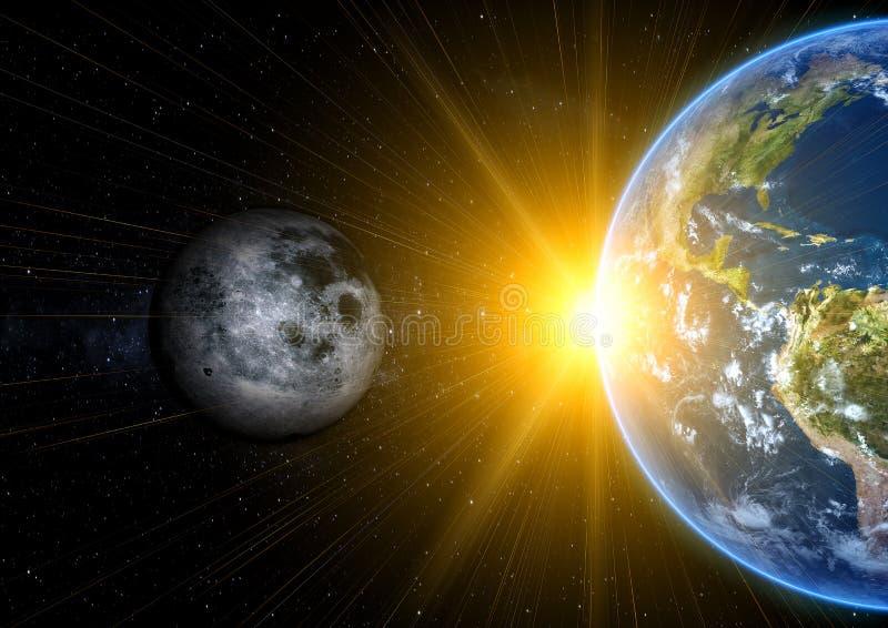 Realistischer Mond und Erde lizenzfreie abbildung