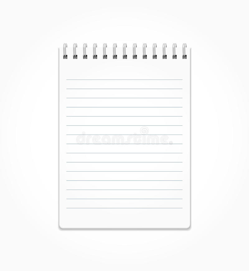 Realistischer Notizblock mit weißen Blättern in einer Linie auf einer Spirale stock abbildung