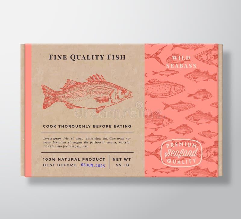 Realistischer Pappcontainer Abstraktes Vector Seafood Packaging Design oder Etikett Moderne Typografie, Hand lizenzfreies stockfoto
