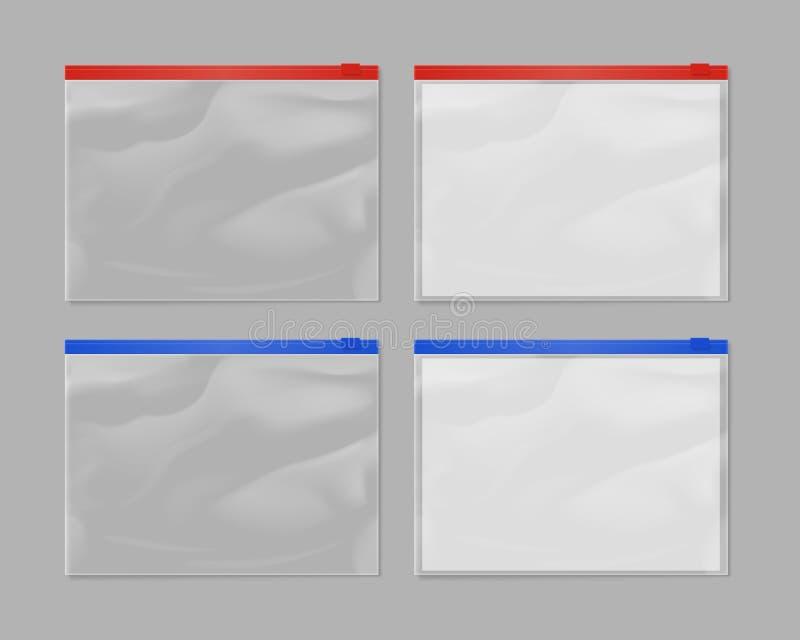 Realistischer Plastikreißverschlusstaschenspott aufgestellt lizenzfreie abbildung