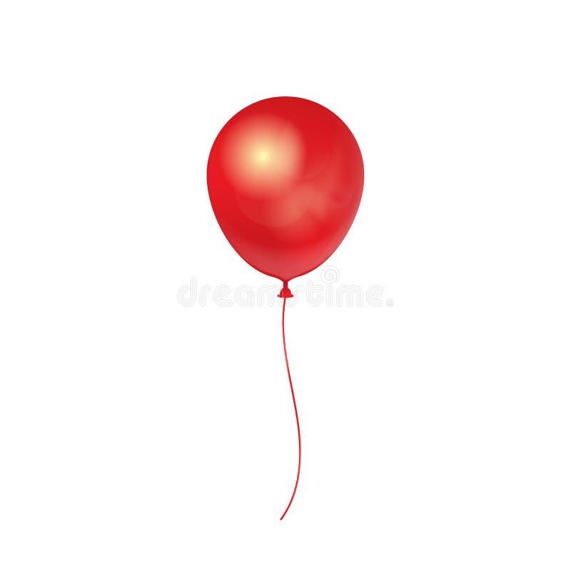 Realistischer roter Ballon 3D lokalisiert auf weißem Hintergrund Auch im corel abgehobenen Betrag vektor abbildung