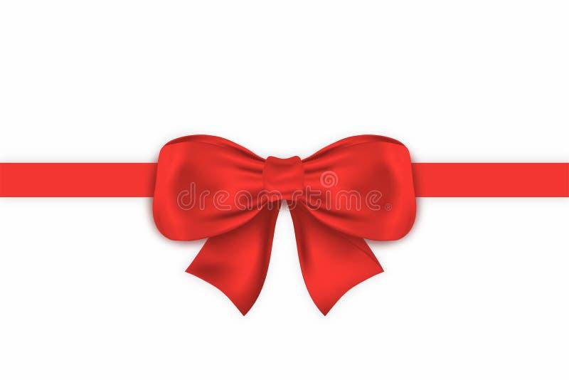 Realistischer roter Geschenkbogen mit horizontalem Band Dekorativer Satingeschenkbogen lokalisiert auf weißem Hintergrund vektor abbildung
