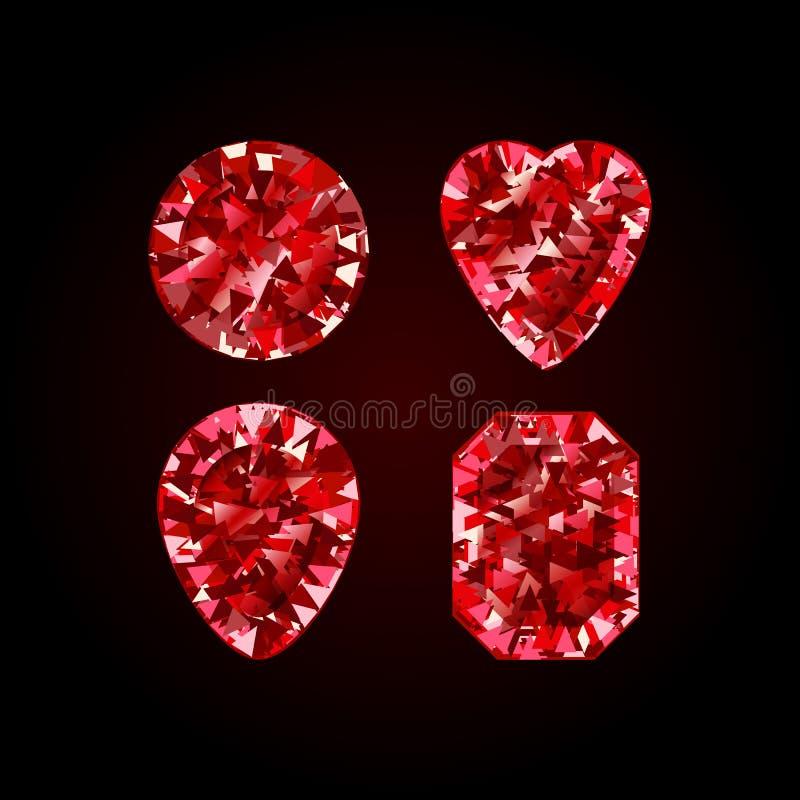 Realistischer roter karminroter Diamant auf wei?em Hintergrund Vektorillustration des Scharlachrots Edelsteins lizenzfreie abbildung