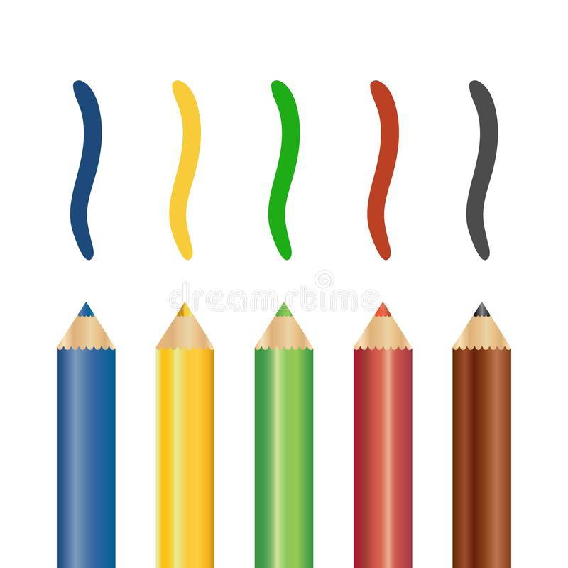 Realistischer Satz bunte farbige Bleistifte mit Bürsten-Anschlägen Auch im corel abgehobenen Betrag lizenzfreie abbildung