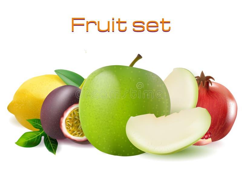 Realistischer Satz der Frucht 3d des Vektors Passionfruit, Granatapfel, Zitronenapfel lizenzfreie abbildung