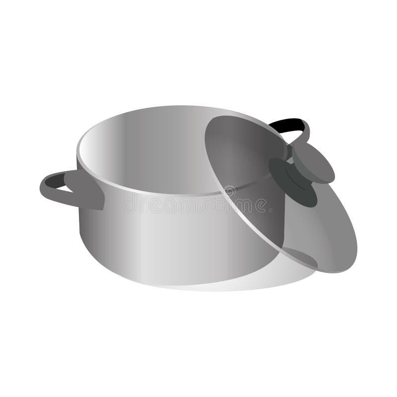 Realistischer Satz der Wannen und der Töpfe mit Bratpfannenkasserolle und -schüssel vector Illustration lizenzfreie abbildung