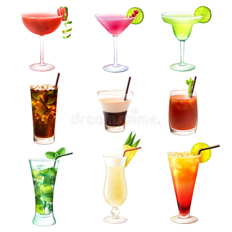 Realistischer Satz des Cocktails stock abbildung
