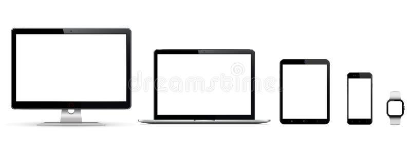 Realistischer Satz des Monitors, Laptop, Tablette, Smartphone, smartwatch lizenzfreies stockfoto