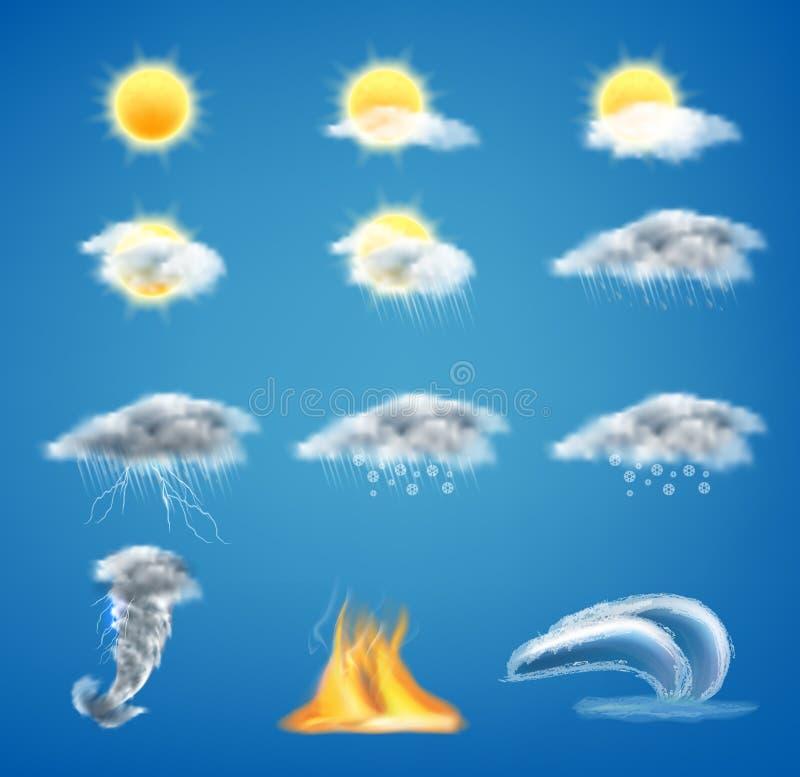 Realistischer Satz des Vektors 3d Wettervorhersageikonen stock abbildung