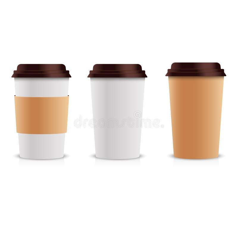 Realistischer Satz Papierkaffeetassen Kaffeetasse-Spott der Sammlungs-3d oben Rand der Farbband-, Lorbeer- und Eichenblätter stock abbildung