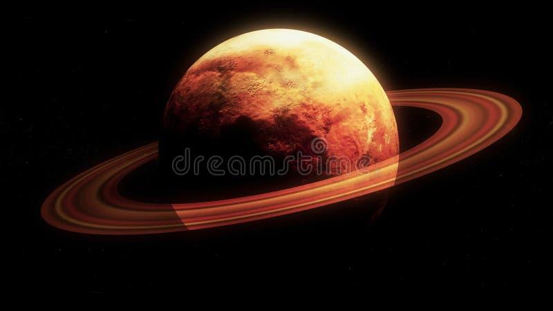 Realistischer schöner Planet Saturn vom Raum Wiedergabe 3d vektor abbildung