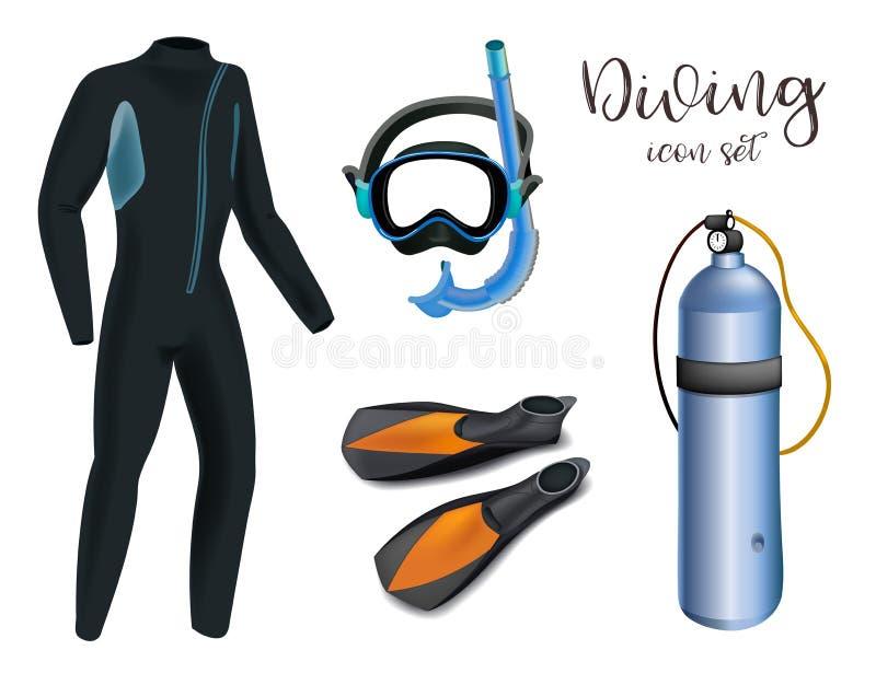 Realistischer Schnorcheln und Sporttauchensatz Elemente Sporttauchengang lokalisiert Taucher Wetsuit, Unterwasseratemgerätmaske,  lizenzfreie abbildung
