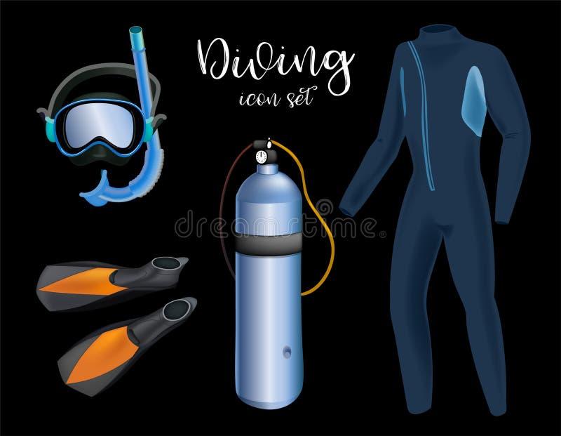 Realistischer Schnorcheln und Sporttauchensatz Elemente Sporttauchengang lokalisiert Taucher Wetsuit, Unterwasseratemgerätmaske,  vektor abbildung