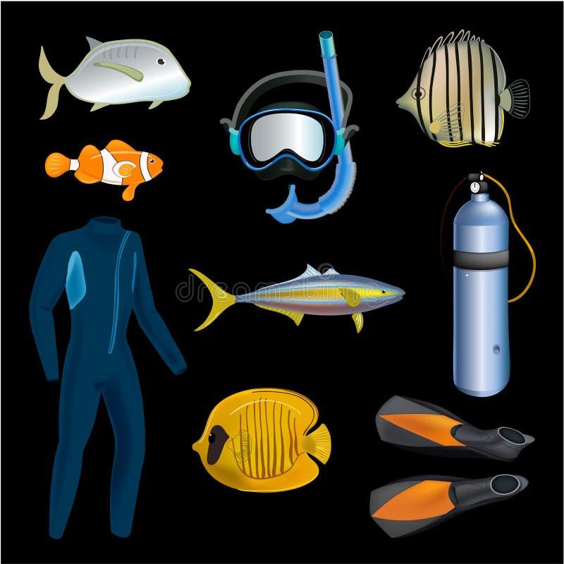 Realistischer Schnorcheln und Sporttauchensatz Elemente Sporttauchengang lokalisiert Taucher Wetsuit, Unterwasseratemgerätmaske,  stock abbildung