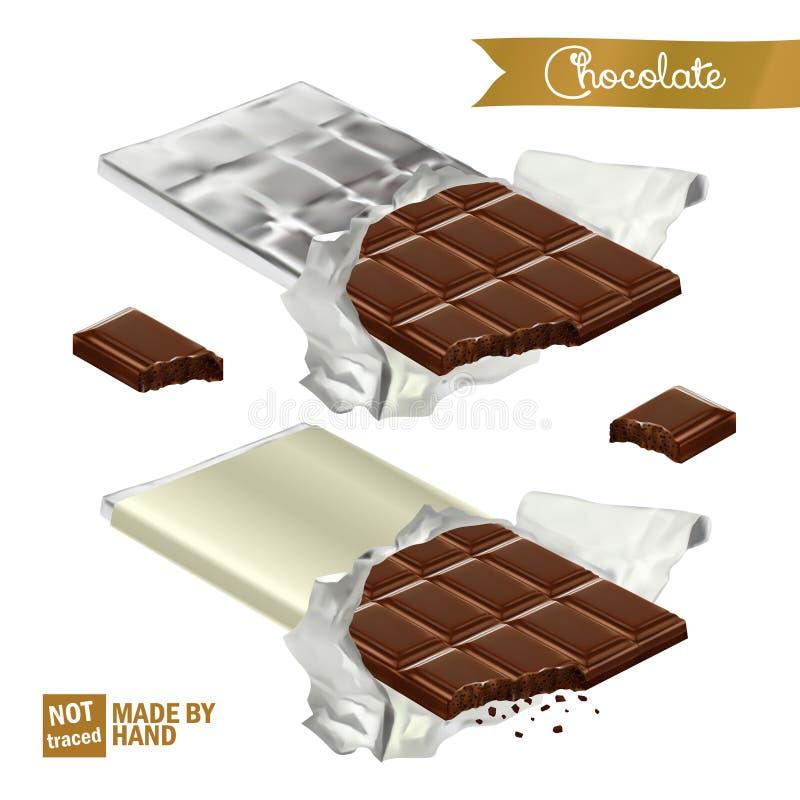 Realistischer Schokoriegel mit dem Biss eingewickelt in der Folie und in der Plastikabdeckung Gebissene Schokoladenstücke lizenzfreie abbildung