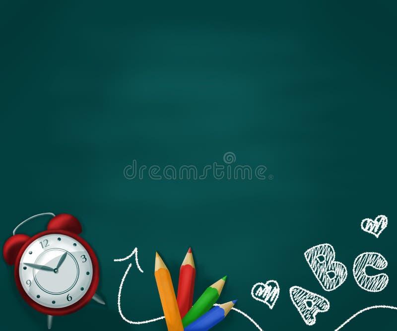 Realistischer Schulbedarf auf einer grünen Tafel mit den Zeichnungen der Kinder Zur?ck zu Schulekonzepthintergrund stock abbildung