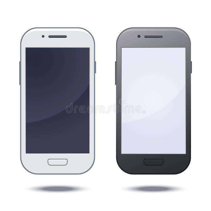 Realistischer schwarzer Handy mit leerem Bildschirm stock abbildung