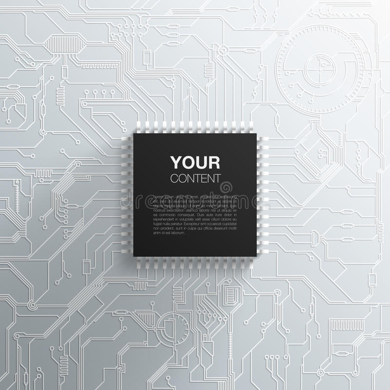 Realistischer schwarzer Mikrochip auf ausführlicher Leiterplatte vektor abbildung