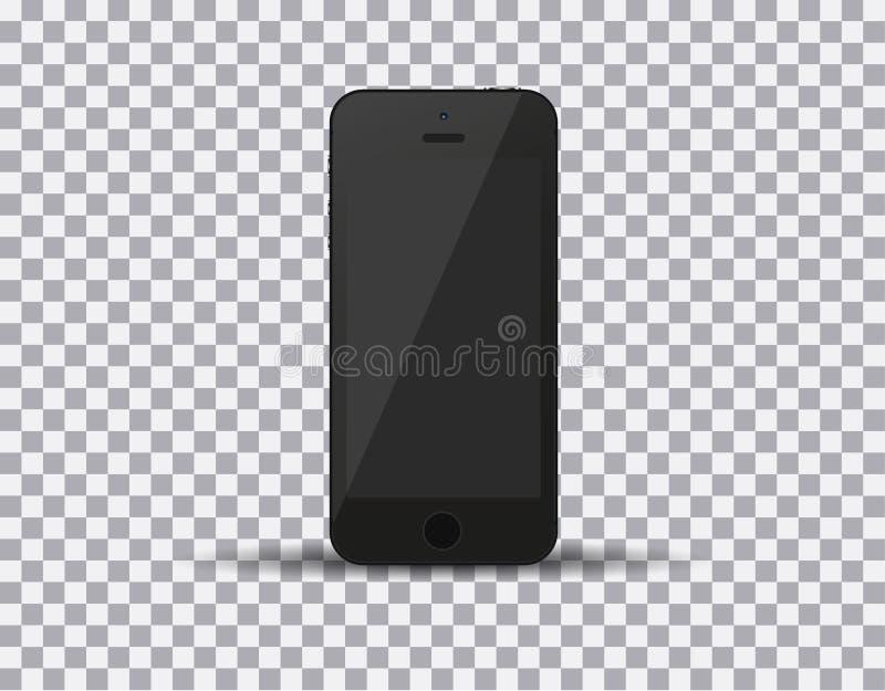 Realistischer schwarzer Smartphone in iphone Art mit leerem Bildschirm auf weißem Hintergrund Auch im corel abgehobenen Betrag lizenzfreie abbildung
