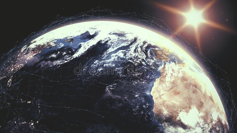 Realistischer Sonnenaufgang über Planet Erde mit Gittermasche der digitalen Daten herum stock abbildung