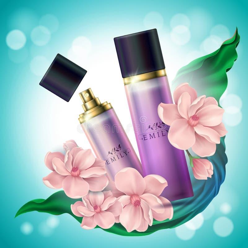 Realistischer Spray- oder Parfüm3d Behälter Desodorierendes Mittel mit Blumen für Paket, Branding und Werbung Zerstäuber für lizenzfreie abbildung