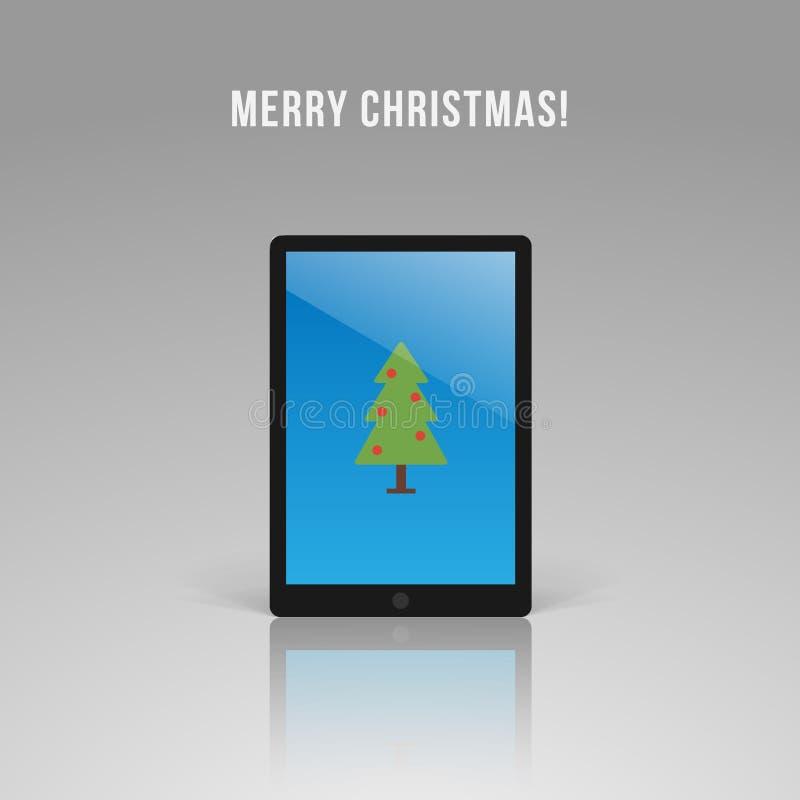 Realistischer Tablet-Computer mit stilisiertem Weihnachtsbaum auf Schirm lizenzfreie abbildung