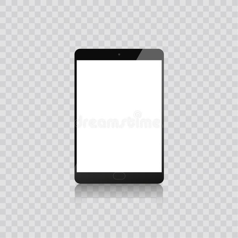 Realistischer Tablette-PC-Computer mit dem unbelegten Bildschirm getrennt auf weißem Hintergrund Auch im corel abgehobenen Betrag stock abbildung