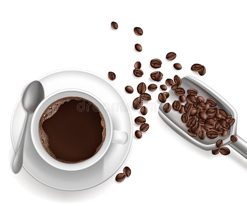 Realistischer Tasse Kaffee des Vektors 3d, sccop stock abbildung