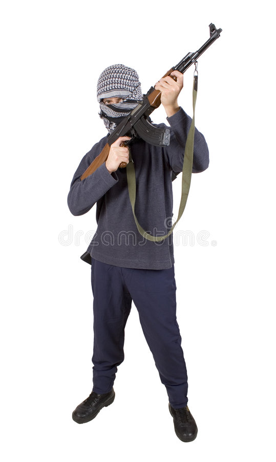 Realistischer Terrorist (vollständige Karosserie) AUSSCHNITTS-PFAD! Lizenzfreies Stockbild