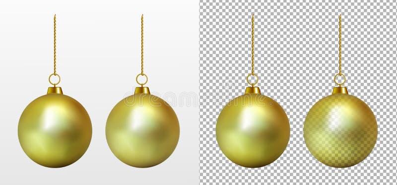 Realistischer transparenter Goldweihnachtsball Spielzeug des neuen Jahres lizenzfreie abbildung