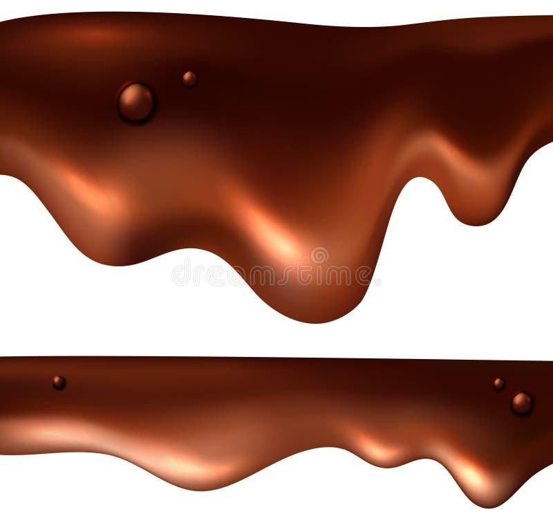 Realistischer Tropfenfängersatz der Schokolade stock abbildung