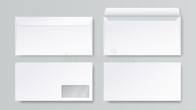 Realistischer Umschlag Leeres Briefpapiermodell DLs, offene geschlossene Front und hintere Buchstabeansicht, Firmenkundengeschäft stock abbildung