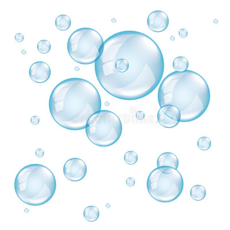 Realistischer Vektor des transparenten Seifenblasefotos lizenzfreie abbildung