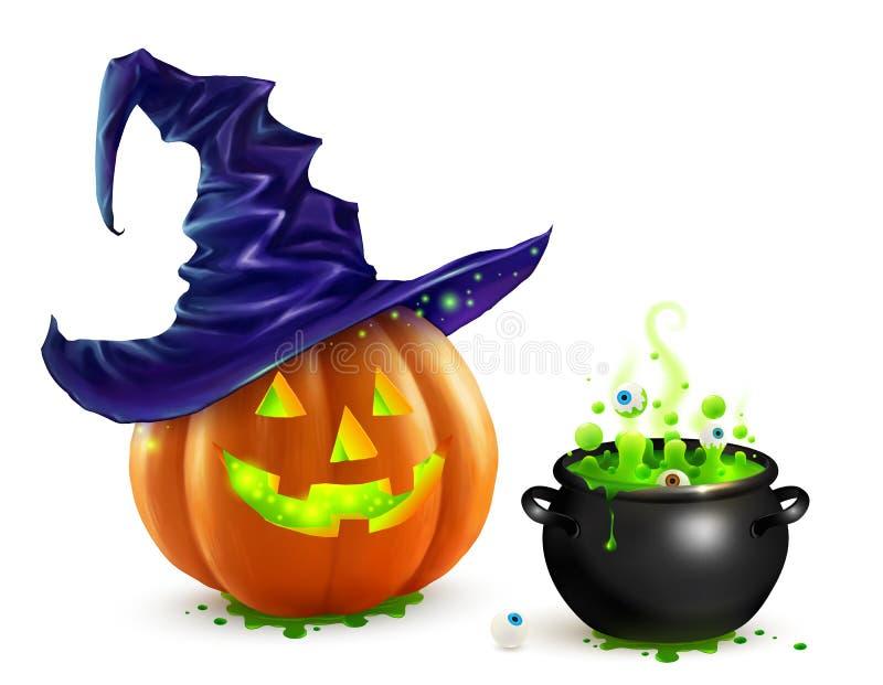Realistischer Vektor Halloween-Kürbis im violetten Hexenhut und im schwarzen großen Kessel mit grünem Gebräu vektor abbildung