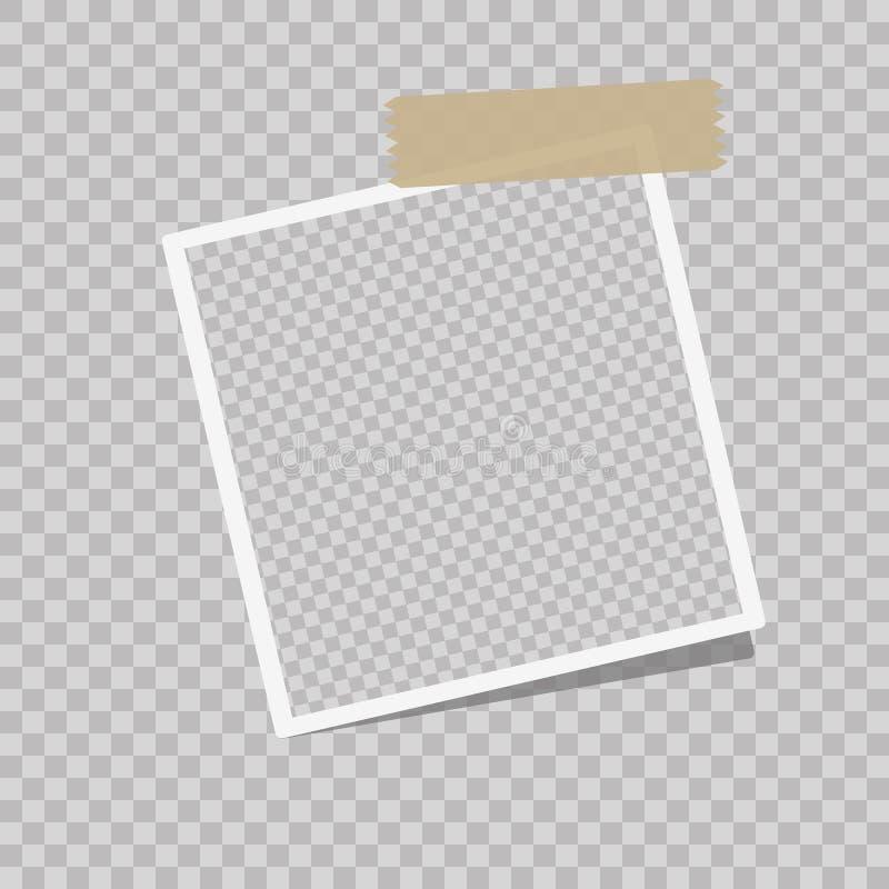 Realistischer Vektorfotorahmen mit Latten auf dem Klebeband vertikal gesetzt lizenzfreie abbildung