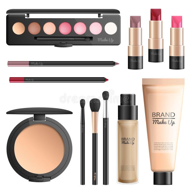 Realistischer Vektorsatz der Kosmetik und der Make-upwerkzeuge vektor abbildung
